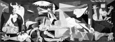 Pablo Picasso painted Guernica in 1937 in response to the bombing of Guernica, Spain by Germany and Italy during the Spanish Civil War.