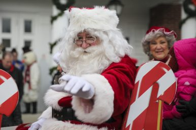 Santa arrives at the Brookfield Village Hall on a horse-drawn carriage on Dec. 6. (Chandler West/Staff photographer)