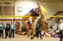 Lyons Township High School's Emma Haugen won the IHSA Class 3A high jump competition, recording a jump of 5 feet, 7 inches. This photo was taken at the West Suburban Silver Conference Indoor Championships in March, where Haugen jumped 5-8.