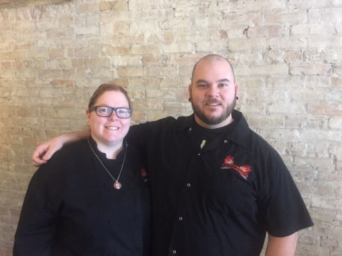 Coming soon: Brenna and Dan Velcich hope to open Burger Antics by March 1, bringing their gourmet selections like the Montezuma's Revenge to Grand Boulevard in Brookfield. (Photo by Bob)