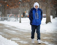 Ivan Mendez walks to RBHS in the below-zero temps on the morning of Jan 8. The high school did not close at all last week. | Jennifer Wolfe/contributor