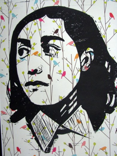 Face the crowd: This self-portrait by 8th-grader Alyssa Peralta will be one of about 20 prints by Hauser art students exhibited in Oak Park in February.