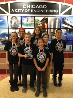 Team Chuck Norris from Brook Park and S.E. Gross schools competed in the Illinois FIRST Lego League robotics competition in Chicago in December. Team members included (from left) Bridget Bowen, Marlena Barrido, Ben Mottlow, Avery Bowen, Kate Mottlow, Zach Mottlow, and Alex Barrido.