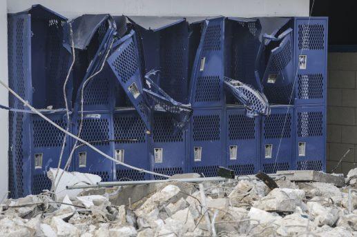 Demolition of Riverside-Brookfield's Shuey Stadium on Tuesday, February 3, 2015. | Chandler West/Staff Photographer