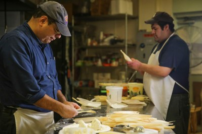 Jaime Flores, Owner of Tamale Hut Cafe, 8300 Cermak Road in North Riverside, prepares tamales on Friday, February 6, 2015. | Chandler West/Staff Photographer