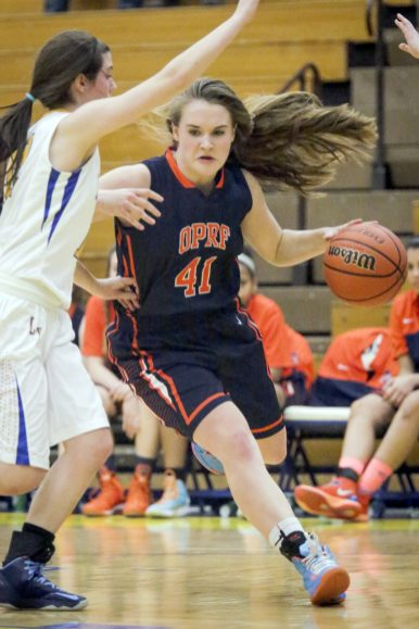 OPRF guard freshman Maeve Nelson is an outstanding 5-8 freshman combo guard. Her first true playoff test will come against RBHS in the semifinals of the Simeon Regional. (Chandler West/Staff Photographer)