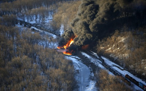 Fireball: A train carrying crude oil derailed and exploded near Galena last week, sending flames and a column of smoke into the air for days. It was one of at least four detrailments in the past month.   Photo courtesy of the U.S. EPA