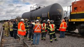 Brookfield firefighters receive training on how to deal with hazardous rail emergency incidents during a session at the Congress Park rail yard in November 2014. (Photo courtesy of the Brookfield Fire Department)
