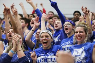 The RBHS student section, commonly known as the 6th Man, came out in full force, as well as the community to support the Bulldogs in the Morton Sectional final. (Chandler West/Staff Photographer)