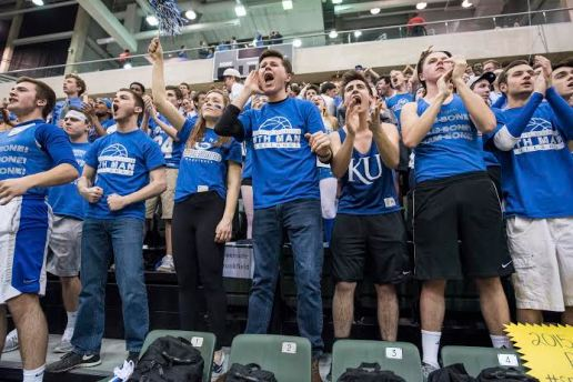 """Like they have done all season, the """"6th Man"""" fans came out en masse to support their beloved Bulldogs at the Chicago State Supersectional game against Stevenson. (Photo by Max Herman)"""