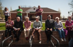 Brookfield residents took advance of the nice weather to view the new sculpture named Prairie Spirit on May 2, 2015 during a dedication ceremony. | WILLIAM CAMARGO/Staff Photographer