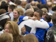 Graduating seniors of class 2015 embraces family and friends after the conclusion of the Commencement Ceremony. | Ting Shen/Contributor