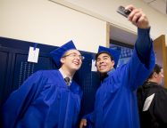 Jack McLaren and Kevin Hernandez (above) take a selfie together before the commencement ceremony. | Ting Shen/Contributor