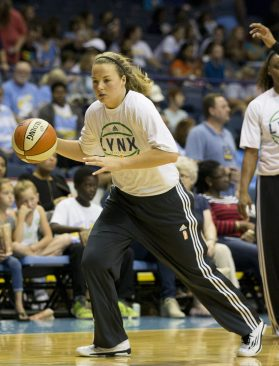 Minnesota Lynx guard Tricia Liston warms up during the Lynx vs. Chicago Sky WNBA game at Allstate Arena on July 10. Prior to her professional career, Liston starred as a prolific shooting guard at Fenwick High School and Duke University. (Ting Shen/Contributing Photographer)