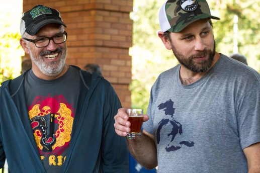 Aaron Greven, left, and Jared Jankoski, right, the Goose Island brewmaster, enjoy beers and laughs. | Stacey Rupolo/Contributor