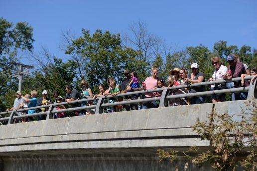 Many people atop the Washington Avenue bridge in Brookfield, overlooking the Salt Creek. | William Camargo/Staff photographer