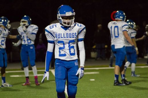 RBHS senior cornerback Davonte Mikkel looks to the RBHS sidelines during the Bulldogs' Homecoming game against Immaculate Conception. The Knights won the first game ever in the Kennelly Athletic Complex 15-7 over the host Bulldogs. (Stacey Rupolo/Contributing Photographer)