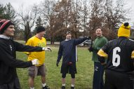 One of the teams gets ready for a play during the Cameron Can Turkey Bowl at Big Ball Park. | William Camargo/Staff Photographer