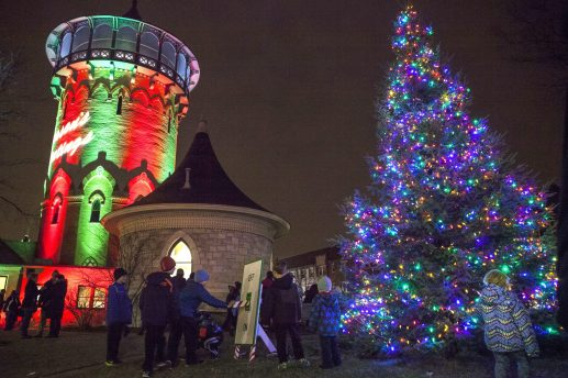Glittering: Downtown Riverside's water tower and Christmas tree were lit up to start the local holiday shopping season during the 40th Annual Holiday Stroll last December. | File 2014