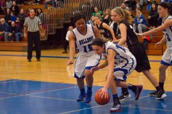 RBHS forward Jess JnoBaptiste gains control of the ball while teammate Lexi Walker looks on. (File photo)