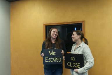 """Sarah Kampbell and Jennifer Segal are poised to open Vault Escape, a """"puzzle room"""" entertainment business on Harlem Avenue. 