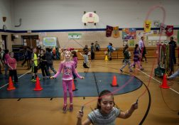 Children jump rope during the school's Jump Rope for Heart fundraiser on Feb. 19. | William Camargo/Staff Photographer