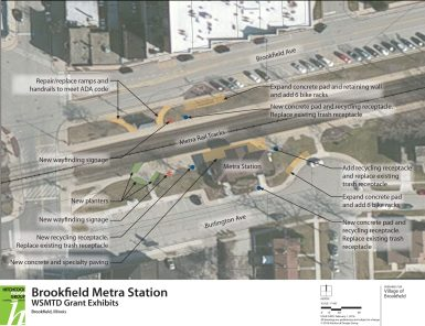 Proposed first-year improvements center around the Prairie Avenue train station and platform areas. (Image courtesy of the village of Brookfield)