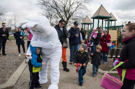 The Easter Bunny walked the park before the beginning of the egg hunt. | William Camargo/Staff Photographer