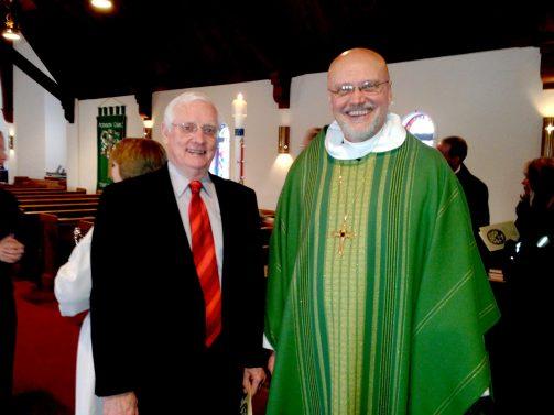 Rev. Paul Landahl (left) with Bishop Wayne Miller, bishop of the Metropolitan Chicago Synod of the Evangelical Lutheran Church in America.