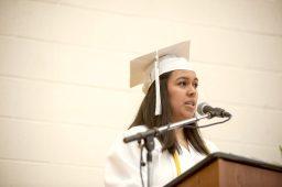 Silvana Alvarez gives her speech to the 2016 graduating class at the gymnasium. | William Camargo/Staff Photographer