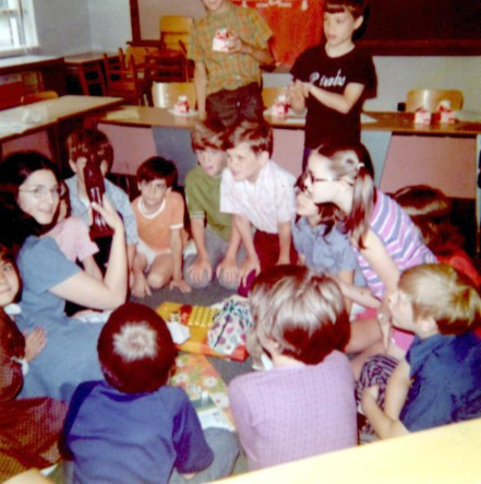 Komarek teacher Jan Greenenwald with her third grade class in the 1971-72 school year. This was her first year as a teacher at Komarek School and her students threw a briadal shower for her. (Provided photo)
