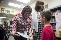 Peg Adamczyk and Nancy Bolen chat with some former students of theirs. | William Camargo/Staff Photographer