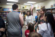Nancy Bolen reacts to seeing one of her former student's growth spurt. | William Camargo/Staff Photographer
