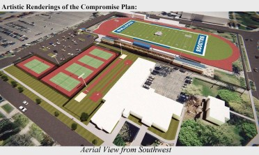 The Riverside-Brookfield High School board has released two renderings showing what their proposed 63-spot parking lot would look like, if built. This is an aerial view looking northeast. (Provided)
