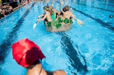 The Jungle Jocks at the 3rd Annual Cardboard Boat Regatta at the Riverside Swim Club. | William Camargo/Staff Photographer