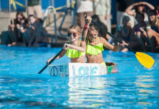 Nikki Tinerella and Alexa Cavaliere finish strong at the 3rd Annual Cardboard Boat Regatta. | | William Camargo/Staff Photographer