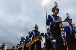 The marching band of Riverside-Brookfield High School during the school's homecoming football game.   Sebastian Hidalgo/Contributor