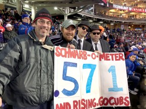 David Cihla, Mike Pordes and the Blues Brothers made it to Cleveland last week just in time to unveil the Schwarb-O-Meter for the World Series.   PROVIDED