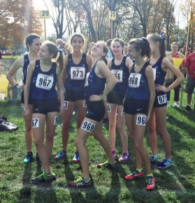 Led by Hailey Jurgens and Tara Janney, the RBHS girls cross country team had their highest state meet finish (12th, 363 points) at the 2A girls state final in Peoria over the weekend. (Photo by Bill Stone)