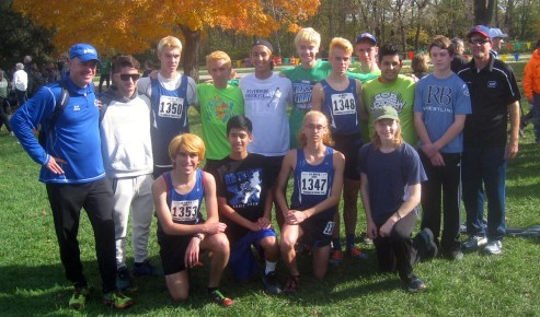 The RBHS boys cross country team finished 11th (293 points) in its first state team appearance since 2011. (Photo by Bill Stone)