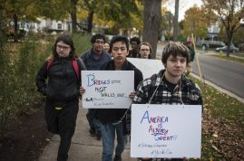 Students at Lyons Township High School organized a unity rally on Nov.11, planning to march from the North Campus to downtown LaGrange. The rally drew just a handful of students, but the march proceeded nonetheless. | William Camargo/Staff Photographer