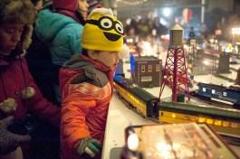 Inside Riverside Garage, kids were mesmerized by the elaborate electric train display. | William Camargo/Staff Photographer