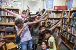 Congress Park students dab as part of the retirement celebration held in June for Adamczyk and Bolen. | William Camargo/Staff Photographer