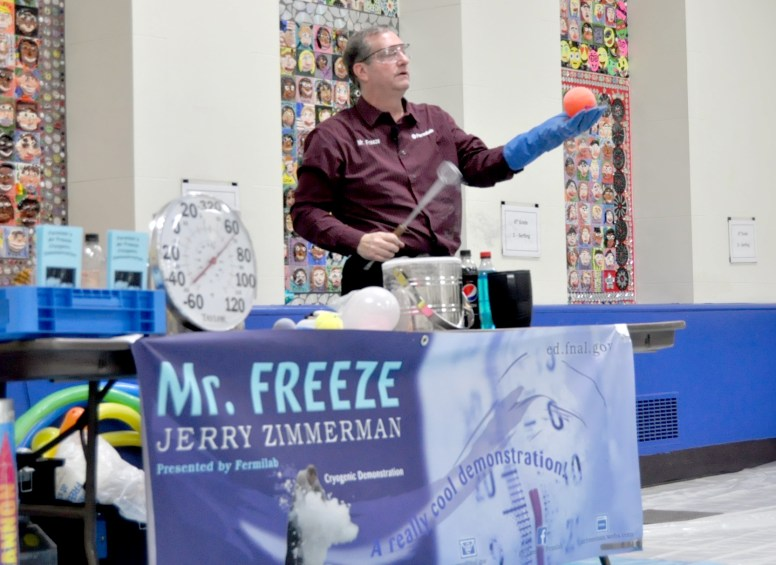 Jerry Zimmerman, a Fermilab engineer known as Mr. Freeze, demonstrates various uses of liquid nitrogen during his cryogenics show, Jan. 24, at District 102's STEM Night at Congress Park School in Brookfield. | JACKIE GLOSNIAK/Contributor