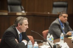 Kit Ketchmark (left) makes a point during the March 10 candidate forum in Brookfield. (William Camargo/Staff)