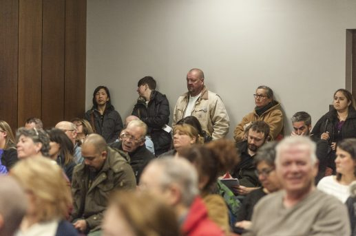A standing room-only crowd of between 75 and 100 people packed the Brookfield Village Hall council chamber for the March 10 candidates' forum, moderated by the LaGrange Area League of Women Voters. (William Camargo/Staff)