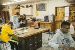 A view of the shop class at Komarek School in North Riverside in March.   William Camargo/Staff Photographer