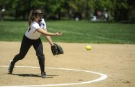 Danika Apostolovich pitching during the Riverside Little League softball game at Big Ball Park on Longcommon Road. | William Camargo/Staff Photographer