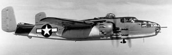 A B-25 aircraft, the type flown by Ed Meksto during World War II in the Pacific.   Provided