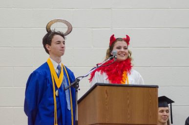 Seniors Adam Nie and Ivy Marcucci address their fellow graduates. | Jason Schumer/Contributor